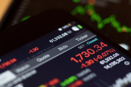 Display of stock market on smartphone