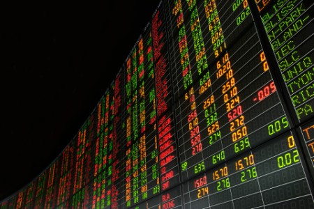 Stock market prices on digital display in exchange