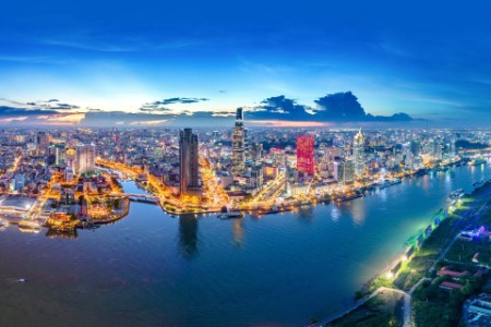 Aerial View Of River By Ho Chi Minh City During Sunset