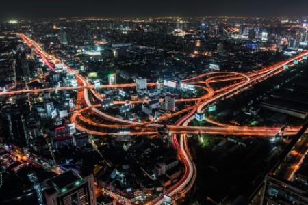 Aerial view of road intersection at night bangkok thailand