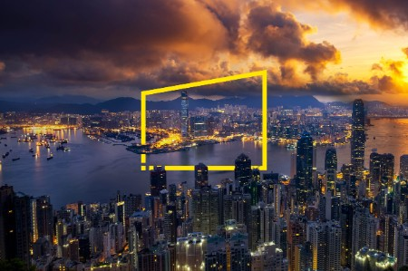 night cityscape top mountain hong kong static