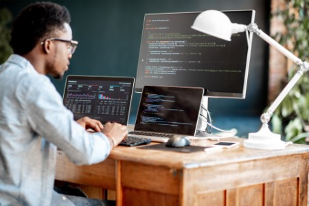 Young african male programmer