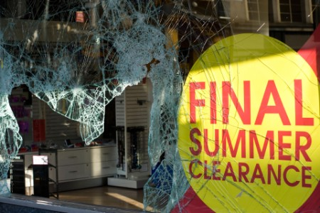 broken window shop protest