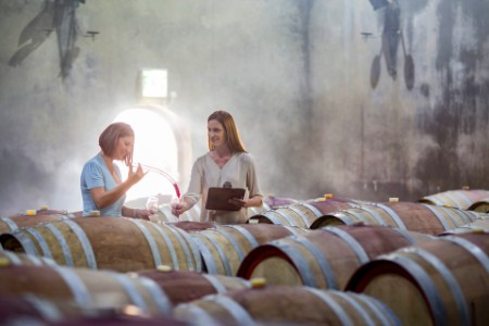 women tasting wine cellar barrels