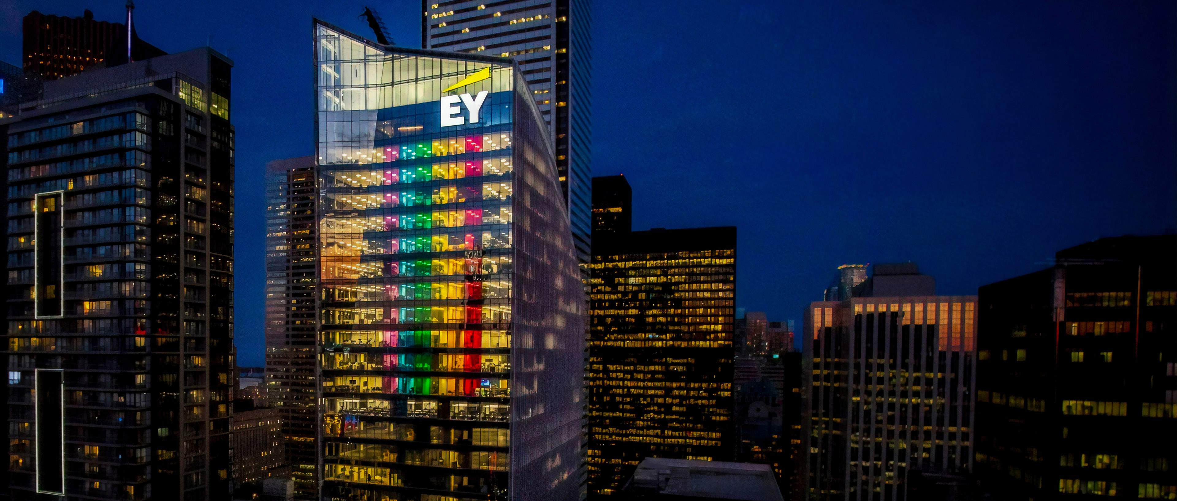 EY building pride rainbow flag lights