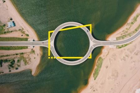 Vista superior del puente circular en El Caracol Uruguay