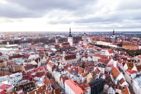 Aerial view historic Tallinn Old Town cloudy day