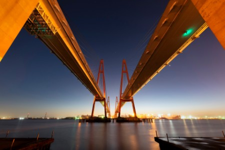 Pair of cable stayed bridges spanning across the nagoya bay