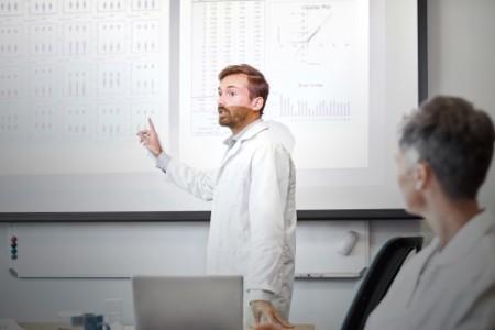 Man presenting data