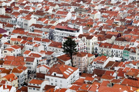 Dense Nazare town Portugal