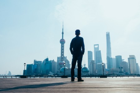 man looking cityscape shanghai