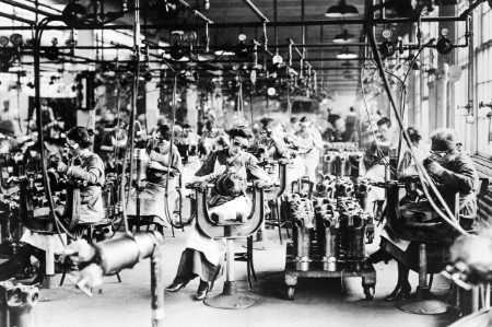Women work in the welding department of a car factory in 1918
