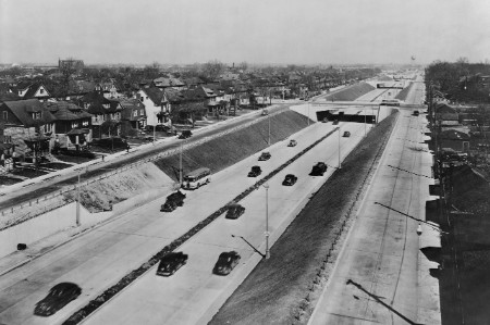 An archive image of the Davidson Highway, America's first depressed six-lane highway.