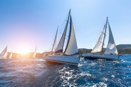 Luxury yachts regatta