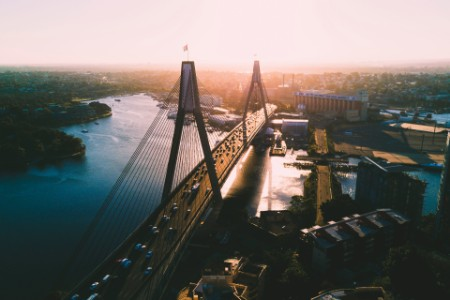 above ANZAC Bridge Sydney