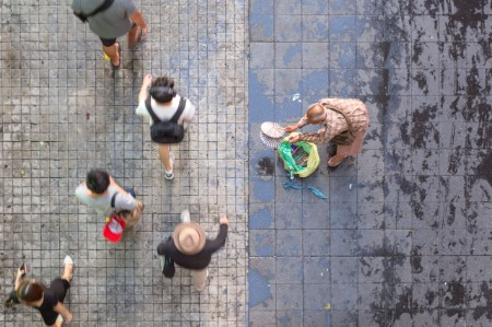 aerial view sidewalk showing inequality
