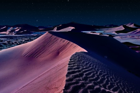 Desert Namib night sand dunes starry sky