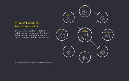 EY has identified eight forces that will redefine customers: shop, live, use technology, play, work, move, eat and stay healthy.