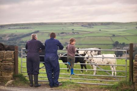 family farmers looking weather beaten field