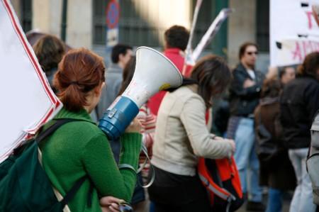 girl protesting rally