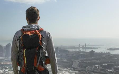 Man overlooking landscape