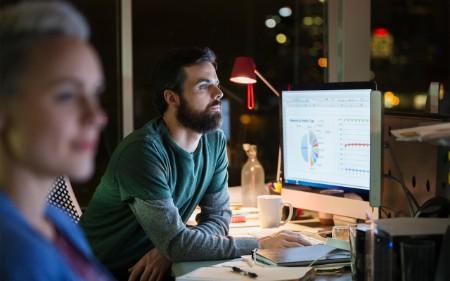 Man working on data