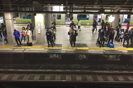 passengers waiting subway station