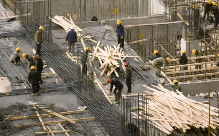 People working on a construction site.