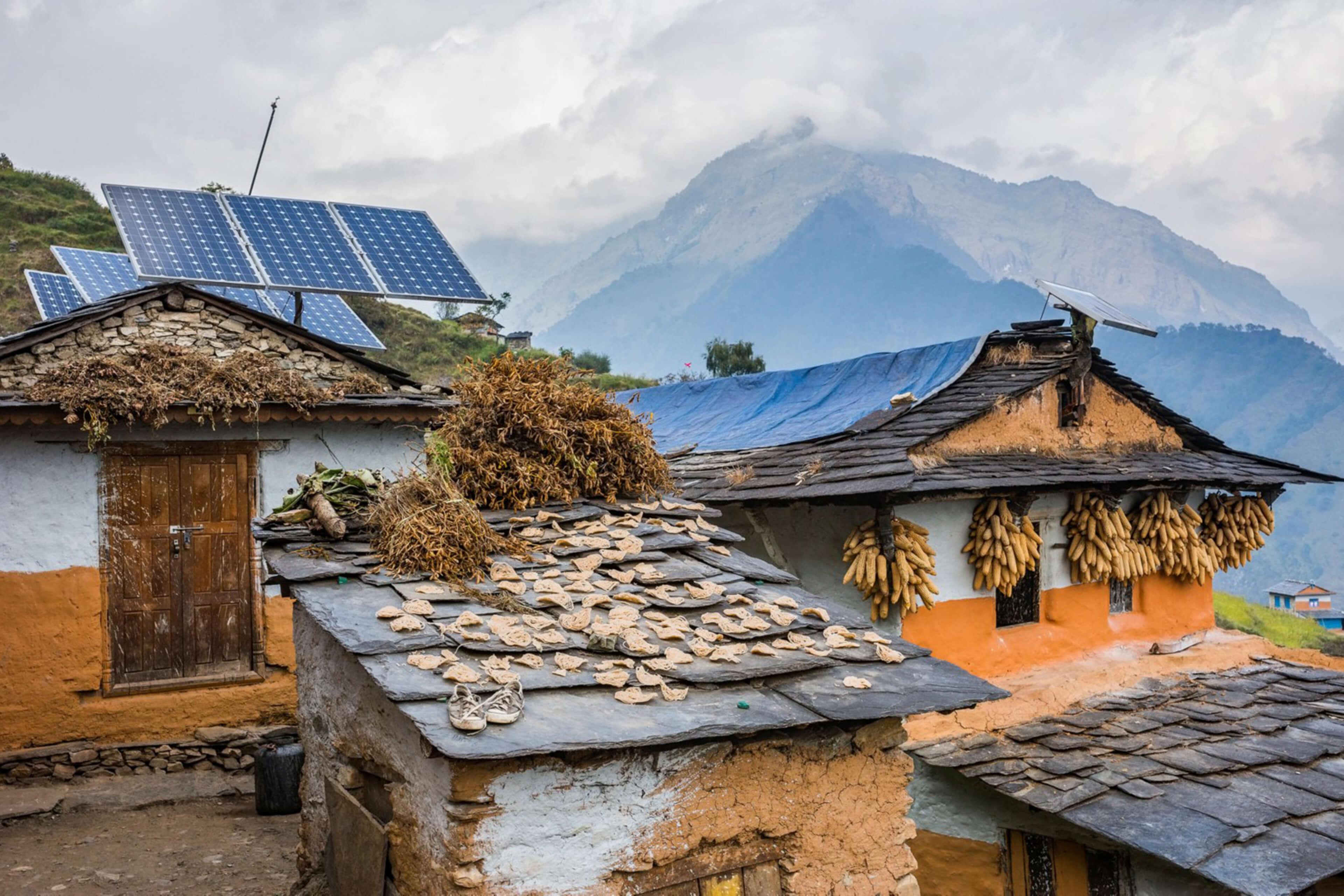Solar panels in rural community