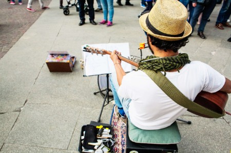 street musician performing crowd