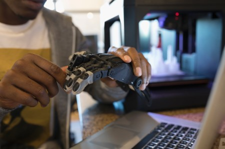 human hand and bionic hand