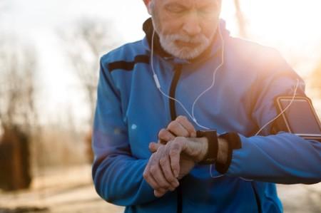 senior man smart watch heart rate