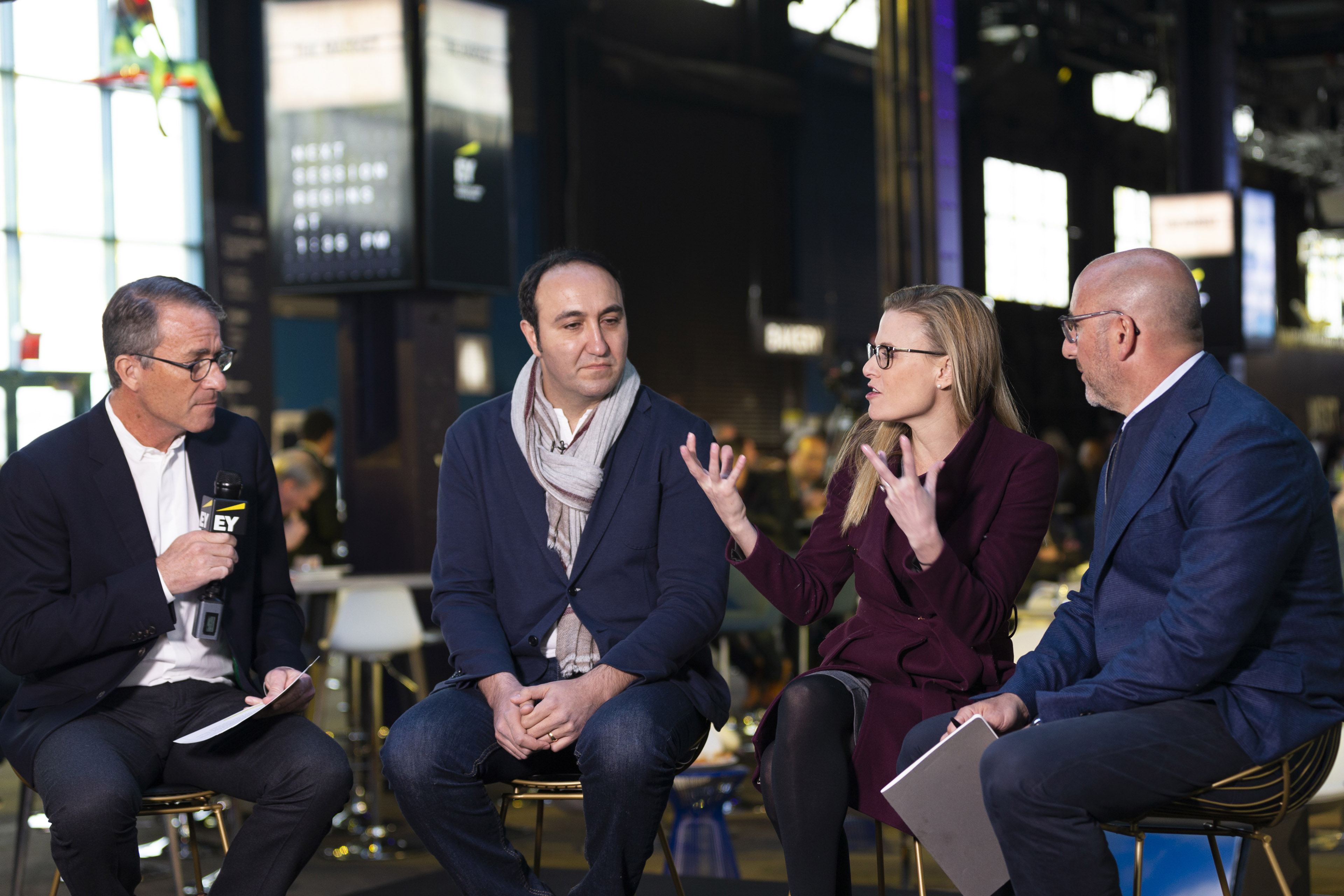 Bill Kanarick, EY Global Customer Leader; Tali Sharot, Director, Affective Brain Lab; and Emrah Gultekin, Co-founder, Chooch