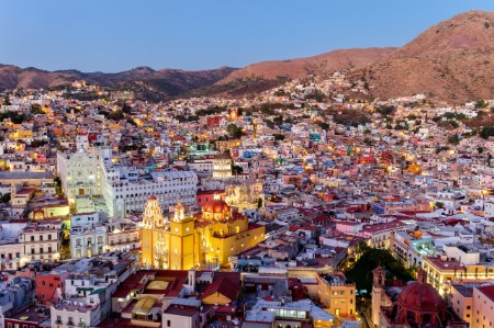 Mexico hilltop village in early evening light