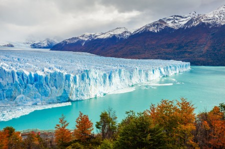 Glacier in Argentina with mountains in background
