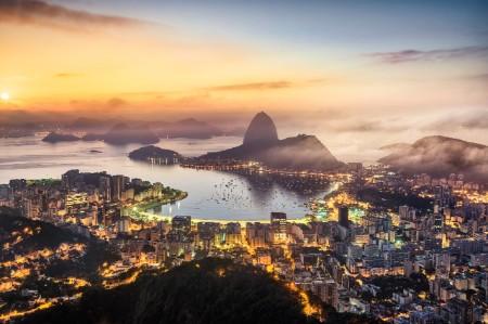 Harbor beach and buildings Rio de Janeiro Brazil