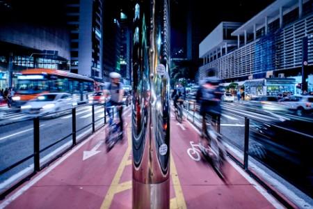 Bike line and traffic city night