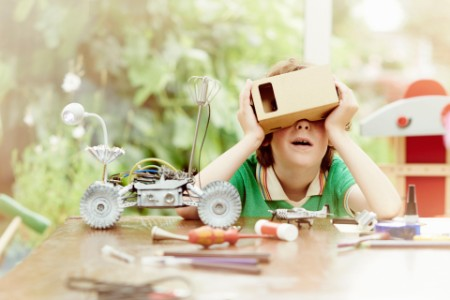 Boy making virtual reality headset