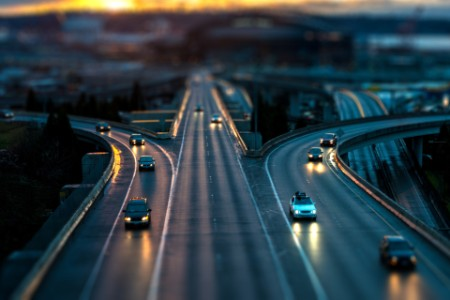 Tiltshift sunset road cars