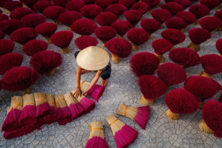Women drying the Incense sticks on yard outdoor