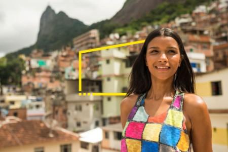 young woman in Favela Santa Marta Rio de Janeiro Brazil