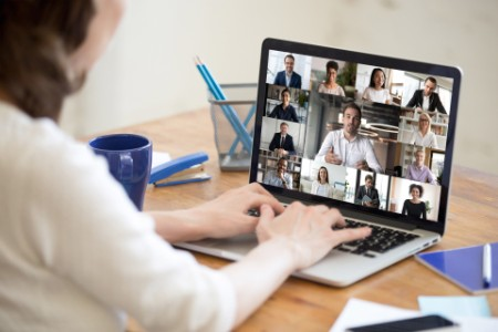 Business women is engaged in online conference call