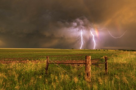 Doble arco iris con doble rayo nebraska usa