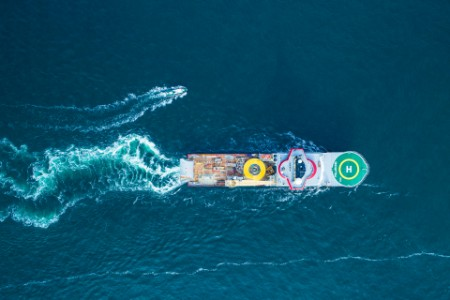 Aerial view of a boat