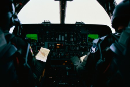 Fighter pilots in cockpit