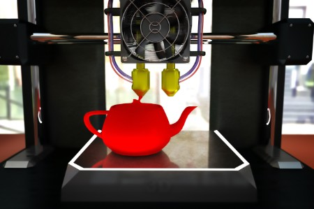 A teapot being printed.