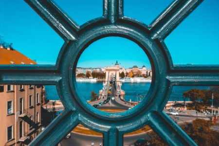 Fence view to the chain bridge at Budapest