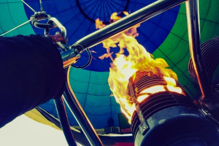 The flame in a hot-air balloon