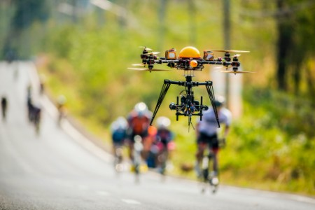 Drone monitors a cycling road race