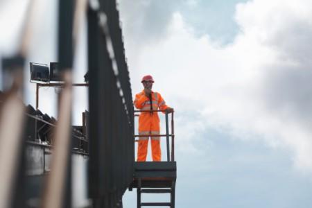 Coal worker on viewing platform